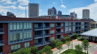 Exterior view of The Flats on Vine in the Arena District in Downtown Columbus Ohio